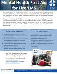 Mental Health First Aid for Fire and EMS one-pager  - Mental